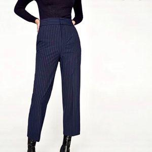 Zara Navy Blue Pinstripe Dress Pant Trousers XS